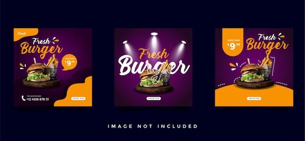 Coleção de modelos de promoção de mídia social de culinária e culinária