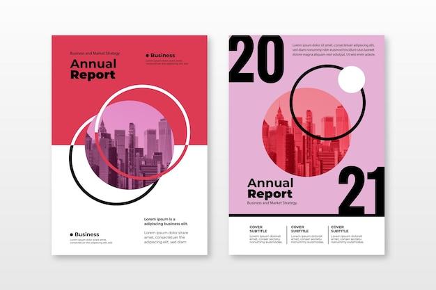 Coleção de modelos de relatório anual abstrato