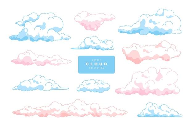 Coleção de modelos de vetor de nuvem desenhada à mão