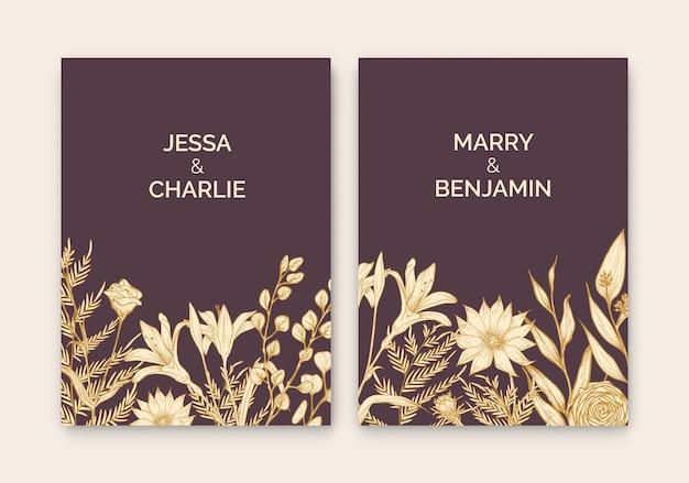 Coleção de modelos florais para cartão save the date ou convite de casamento decorado com belas flores de jardim desenhadas à mão