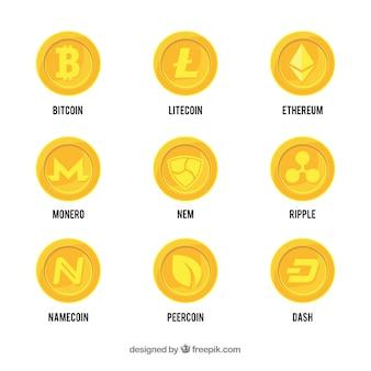 Coleção de moedas criptocurrency