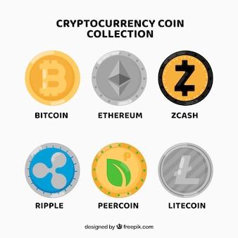 Coleção de moedas de criptomoeda diferentes