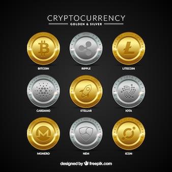Coleção de moedas de criptomoedas de ouro e prata