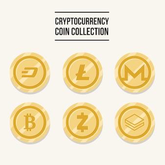 Coleção de moedas de criptomoedas douradas