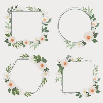 Coleção de moldura de buquê de flores de camélia branca