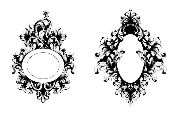 Coleção de moldura de espelho barroco vintage