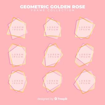 Coleção de moldura de ouro rosa geométrica