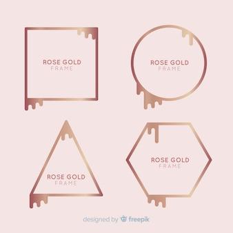 Coleção de moldura de ouro rosa