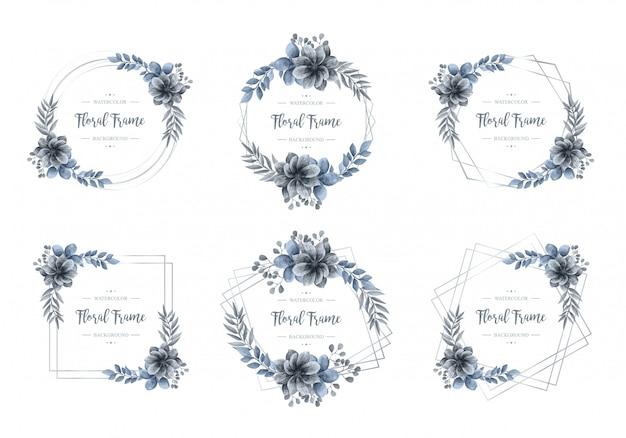 Coleção de moldura de prata floral azul aquarela de luxo