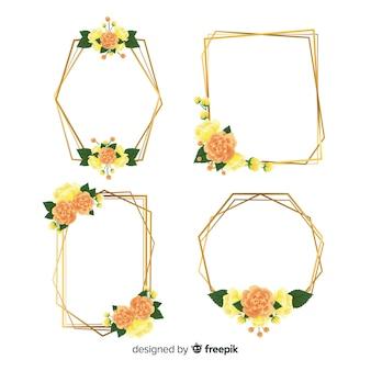 Coleção de moldura dourada floral