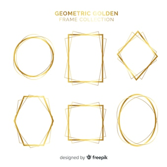 Coleção de moldura dourada geométrica