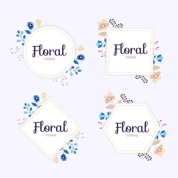 Coleção de moldura floral de casamento colorido
