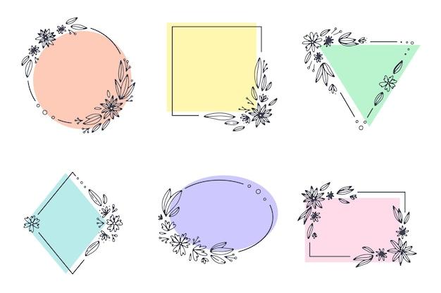 Coleção de moldura floral decorativa