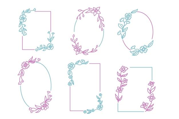 Coleção de moldura floral desenhada à mão colorida