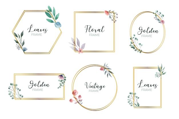 Coleção de moldura floral dourada