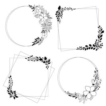 Coleção de moldura floral elegante