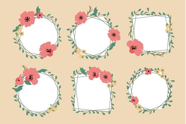 Coleção de moldura floral