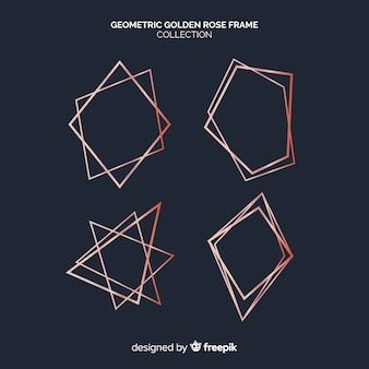 Coleção de moldura geométrica de ouro rosa