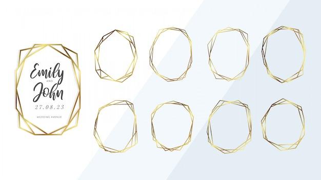 Coleção de moldura geométrica dourada.