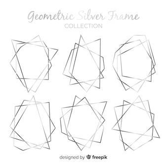 Coleção de moldura geométrica prata