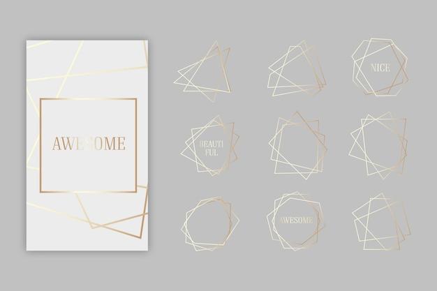 Coleção de moldura poligonal dourada