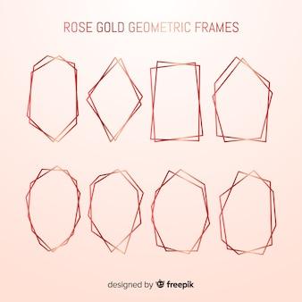 Coleção de moldura rosa dourada geométrica