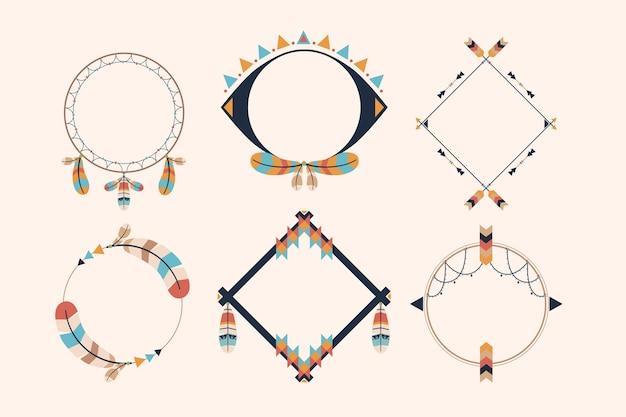 Coleção de molduras boho em design plano
