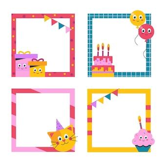 Coleção de molduras de aniversário e caras engraçadas