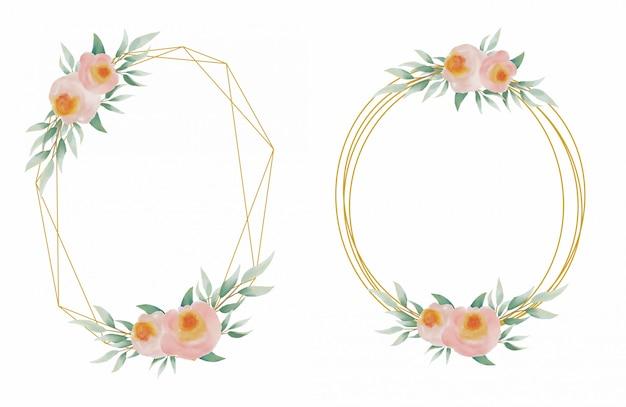 Coleção de molduras de casamento com linhas douradas e decorações de flores em aquarela bonitas e elegantes