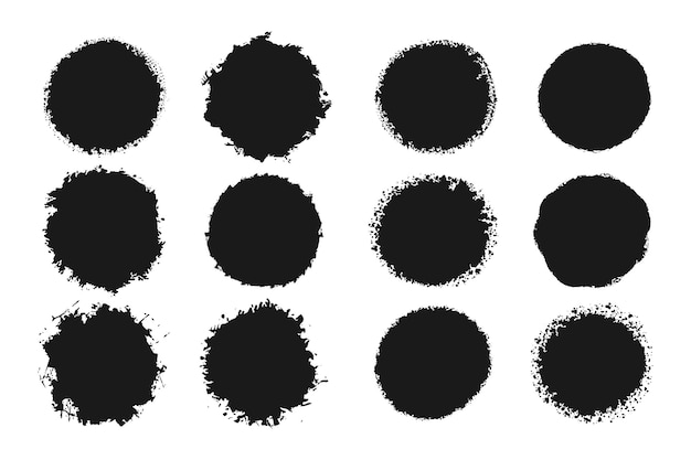 Coleção de molduras de círculo grunge preto