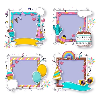 Coleção de molduras de colagem de aniversário desenhadas