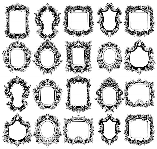 Coleção de molduras de espelho barroco