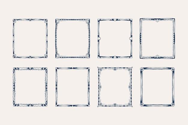 Coleção de molduras de rabiscos desenhados à mão para gravura