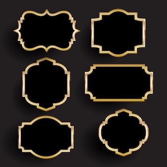 Coleção de molduras decorativas em ouro e preto