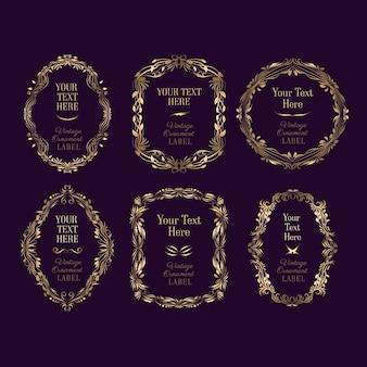 Coleção de molduras douradas ornamentais vintage