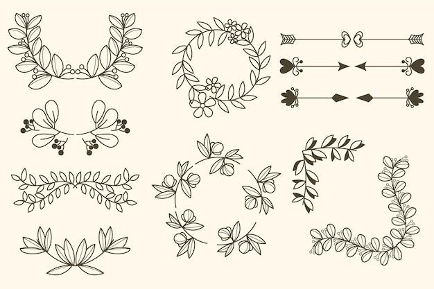 Coleção de molduras e elementos decorativos