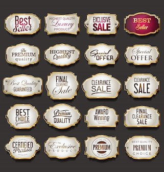 Coleção de molduras e etiquetas dourada em branco