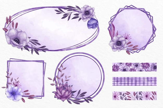 Coleção de molduras e padrões florais roxos