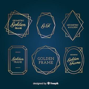 Coleção de molduras geométricas douradas