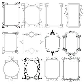 Coleção de molduras ornamentais caligráficas elegantes
