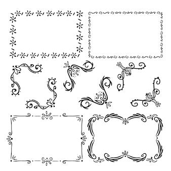Coleção de molduras ornamentais desenhada à mão