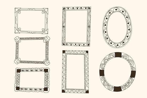 Coleção de molduras ornamentais quadradas e circulares