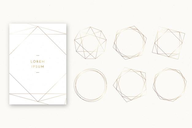 Coleção de molduras poligonais de casamento simples
