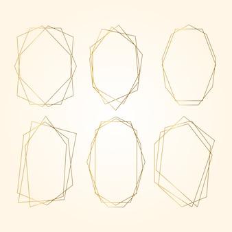 Coleção de molduras poligonais douradas em tons de sépia