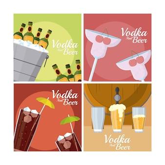 Coleção de molduras quadradas de vodka e cervejas