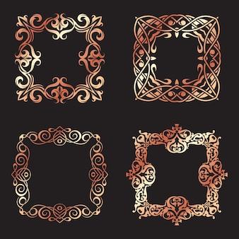 Coleção de molduras quadradas decorativas