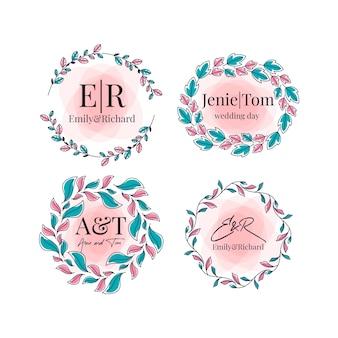 Coleção de monograma de casamento colorido