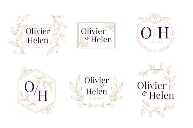 Coleção de monograma de casamento elegante
