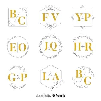 Coleção de monograma de casamento ornamentais