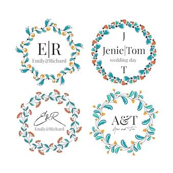 Coleção de monograma de casamento